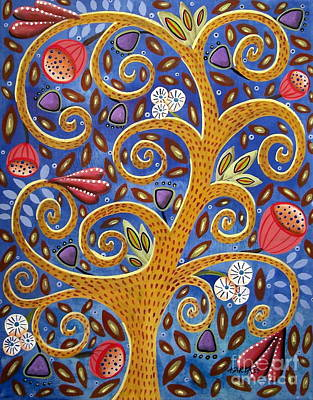 Swirl Tree Painting - Golden Tree by Karla Gerard