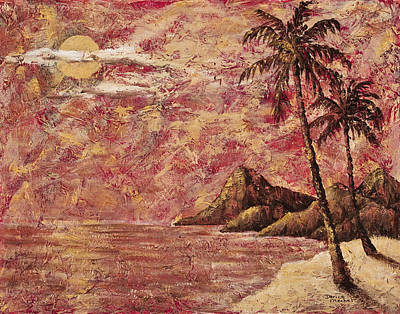 Mixed Media - Golden Tropical Sunset by Darice Machel McGuire