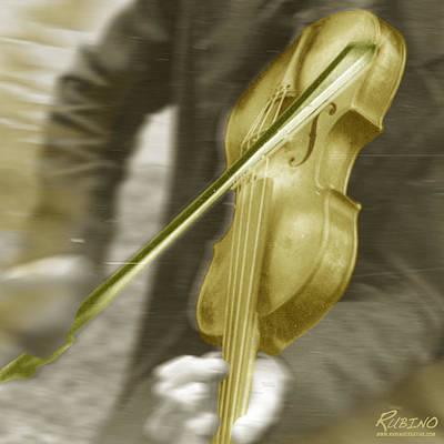 Lichtenstein Photograph - Golden Violin by Tony Rubino
