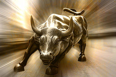 Photograph - Golden Wall Street Bull by Wes and Dotty Weber