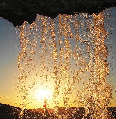Photograph - Golden Waterfall by Faouzi Taleb