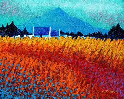 Poppies Field Painting - Golden Wheat Field by John  Nolan