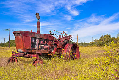 Photograph - Golden Years - Rust Red Tractor In Rural Georgia by Mark E Tisdale