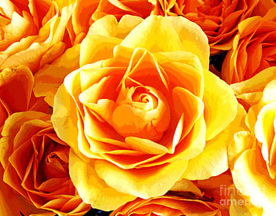 Photograph - Golden Yellow Roses by Larry Oskin