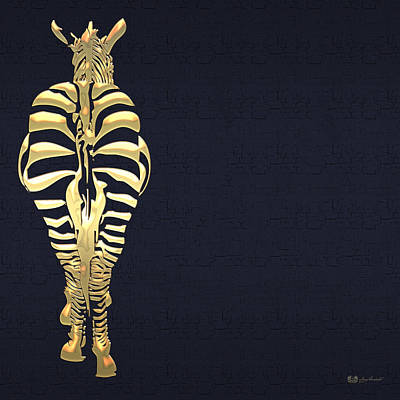 Golden Zebra On Charcoal Black Original
