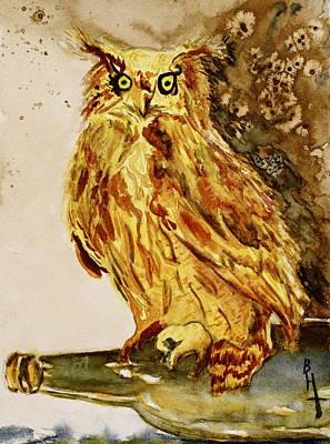 Goldene Bier Eule Print by Beverley Harper Tinsley