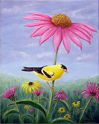 Art Print featuring the painting Goldfinch And Coneflowers by Fran Brooks