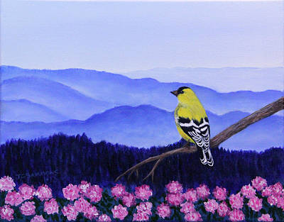 Goldfinch And Rhododendrens Art Print by Janet Greer Sammons