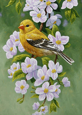 Goldfinch Painting - Goldfinch Blossoms Greeting Card 2 by Crista Forest