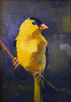 Outside My Window Painting - Goldfinch by Connie Herberg