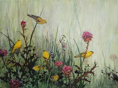 Wall Art - Painting - Goldfinch Flock by Floy Zittin