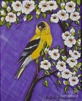 Painting - Goldfinch In Pear Blossoms by Jennifer Lake