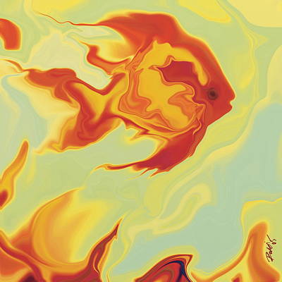 Art Print featuring the digital art Goldfish 1 by Rabi Khan
