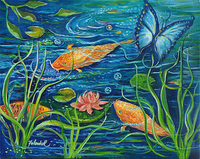 Art Print featuring the painting Goldfish And Butterfly by Yolanda Rodriguez