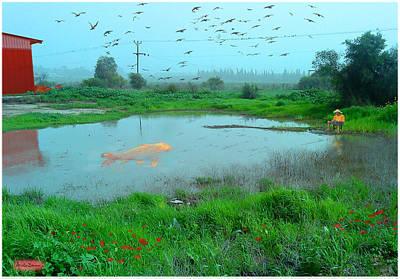 Israeli Mixed Media - Goldfish Can Be Anywhere by Ariela Zman