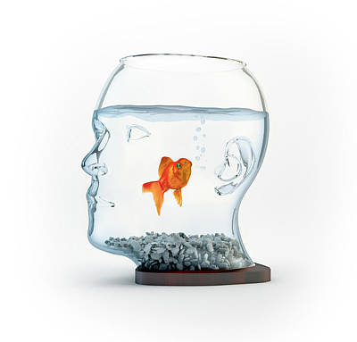 Digitally Generated Photograph - Goldfish In A Bowl by Andrzej Wojcicki