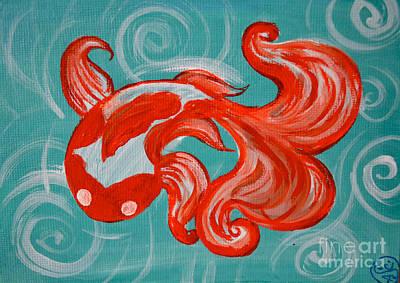 Viridian Painting - Goldfish Number Three by Amanda Christine Shelton
