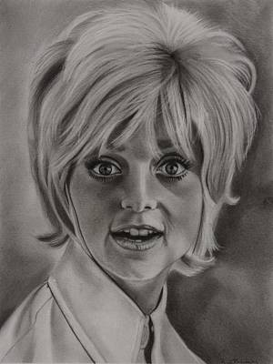 Laugh Drawing - Goldie Hawn by Brian Broadway