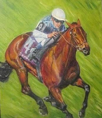 Record Breaker Painting - Goldikova Champion Breeders Cup Winner by Yvette Hirsch