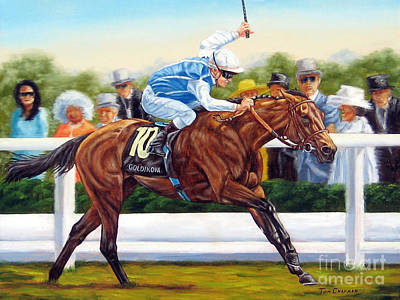 Jockey Painting - Goldikova Winning At Royal Ascot by Tom Chapman