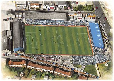 Colored Pencils - Goldstone Ground - Brighton and Hove Albion FC by Kevin Fletcher