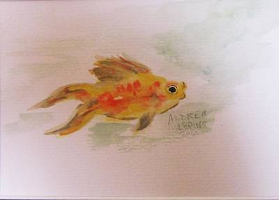 Goldfish Painting - Goldy Goes For A Swim by Andrea Flint Lapins