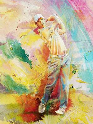 Golfer Painting - Golf Action 01 by Catf