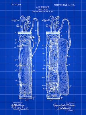 Golf Bag Patent 1905 - Blue Art Print by Stephen Younts