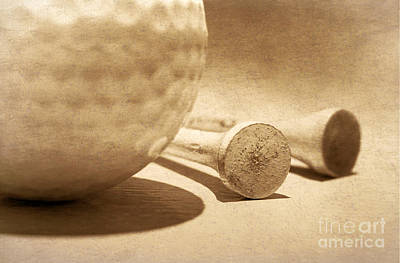 Photograph - Golf Ball And Tees Sepia by Charline Xia