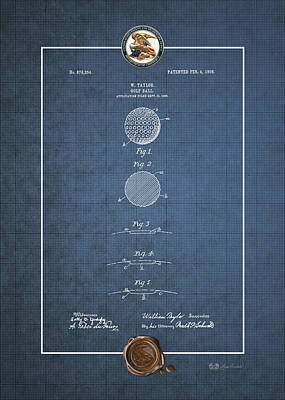 Digital Art - Golf Ball By William Taylor - Vintage Patent Blueprint by Serge Averbukh