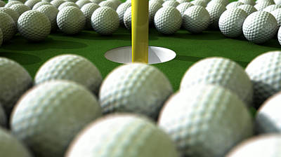 Competing Digital Art - Golf Ball Hole Assault by Allan Swart