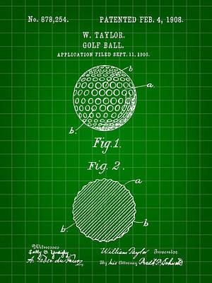 Golf Ball Patent 1906 - Green Art Print