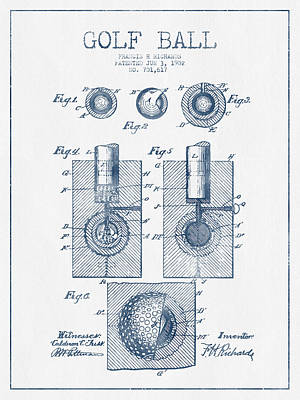 Sports Royalty-Free and Rights-Managed Images - Golf Ball Patent Drawing From 1902 - Blue Ink by Aged Pixel