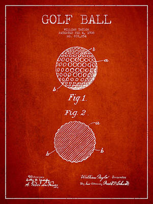 Sports Royalty-Free and Rights-Managed Images - Golf Ball Patent Drawing From 1908 - Red by Aged Pixel