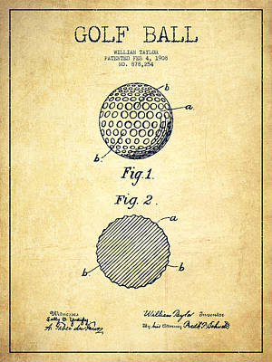 Sports Royalty-Free and Rights-Managed Images - Golf Ball Patent Drawing From 1908 - Vintage by Aged Pixel