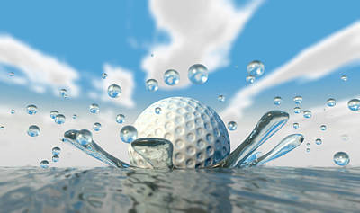 Golf Ball Water Splash Art Print by Allan Swart