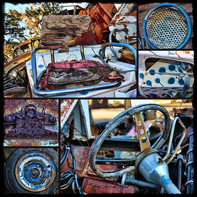 Office Art Photograph - Golf Cart Collage by Sylvia Thornton