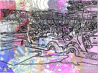 Digital Art - Golf Carts In The Snow by Julie Knapp