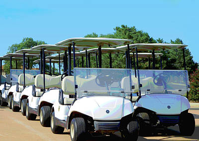 Digital Art - Golf Carts Ready To Roll Digital Art by Ann Powell