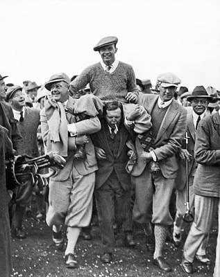 Photograph - Golf Champion Celebrates by Underwood Archives