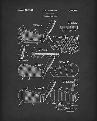 Drawing - Golf Club 1936 Patent Art Black by Prior Art Design