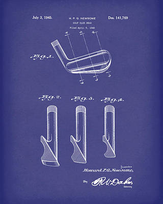 Drawing - Golf Club 1945 Patent Art Blue by Prior Art Design