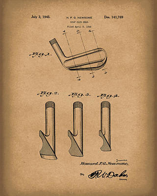 Drawing - Golf Club 1945 Patent Art Brown by Prior Art Design