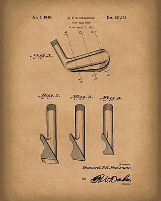 Golf Drawing - Golf Club 1945 Patent Art Brown by Prior Art Design