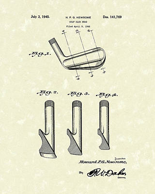 Golf Club 1945 Patent Art Art Print by Prior Art Design
