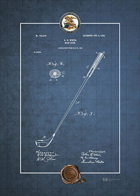 Digital Art - Golf Club By Rollin H. White - Vintage Patent Document by Serge Averbukh