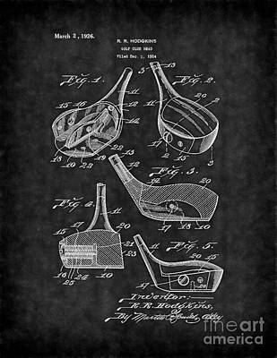 Patent Digital Art - Golf Club Head Patent Blk by Brian Lambert