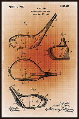 Sepia Chalk Mixed Media - Golf Club Patent Blueprint Drawing Sepia by Tony Rubino