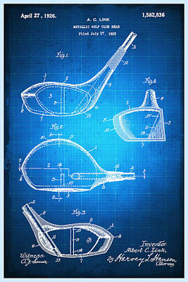 Mixed Media - Golf Club Patent Blueprint Drawing by Tony Rubino