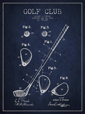 Golf Course Digital Art - Golf Club Patent Drawing From 1910 by Aged Pixel